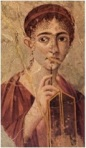 Pompejilaisen naisen muotokuvassa vahataulu ja kynä viittaavat todennäköisesti talouskirjanpitoon.