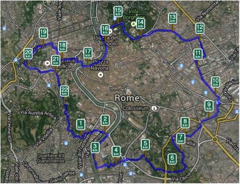Rooman muurikierros kartalla