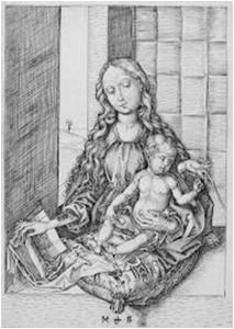 Kuva 5. Martin Schongauer: Neitsyt, lapsi ja papukaija.